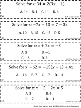 8th Grade Math Game Multi Step Equations By One Stop Teacher Shop