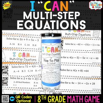 Brilliant 8Th Grade Multi Step Equations Game 8Th By One Stop Teacher Easy Diy Christmas Decorations Tissureus