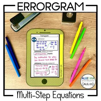 Multi-Step Equations Activity - Errorgram