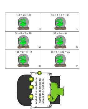 Multi-Step Equations Escape Room.  Zombie Attack!