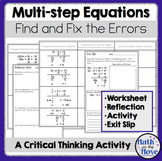 Multi-Step Equations - Find and Fix the Errors - Worksheet