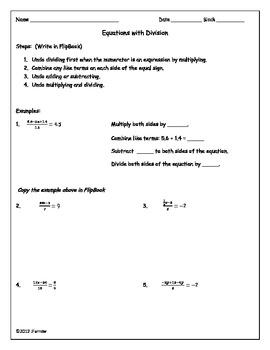 Multi-Step Equations Flipbook