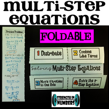 Advanced Multi-Step Equations Foldable Notes Interactive Notebook