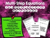 Multi Step Equations Foldable and HW for Interactive Notebooks