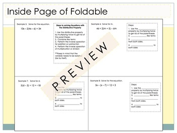 Multi-Step Equations Foldable for Interactive Notebooks