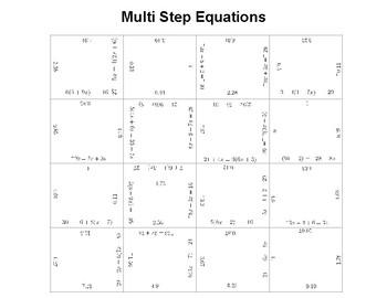 Multi Step Equations Fun Square Puzzle Activity
