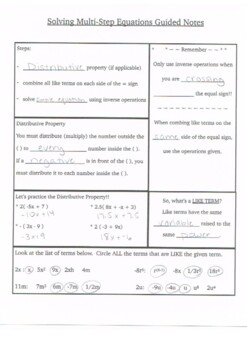 Multi-Step Equations Guided Notes