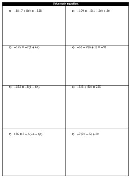 Multi-Step Equations Guided Notes and HW