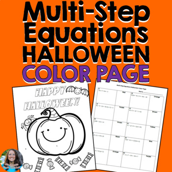 Multi-Step Equations Halloween Color Page Activity