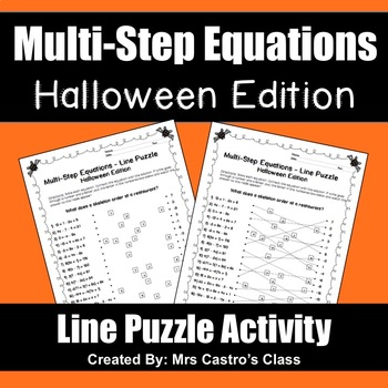 Multi-Step Equations Halloween Puzzle Activity