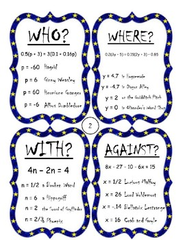 Multi-Step Equations Harry Potter Activity