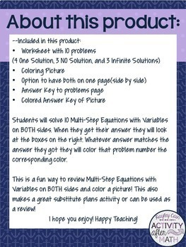 Multi-Step Equations How Many Solutions? Color By Number