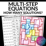 Multi-Step Equations How Many Solutions? Coloring Activity