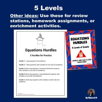 Multi-Step Equations Hurdles Activity