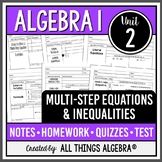 Multi-Step Equations and Inequalities (Algebra 1)