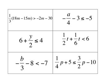 Multi-Step Equations, Inequalities, and Expressions Matching Activity