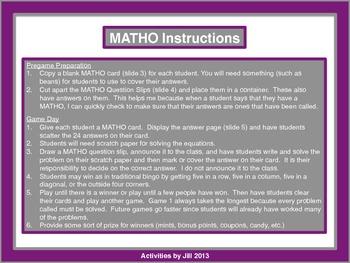 Multi-Step Equations MATHO