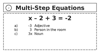 Multi-Step Equations Mad Libs