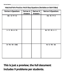 Multi-Step Equations - Matched Pairs Activity