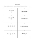 Multi-Step Equations Matching Activity