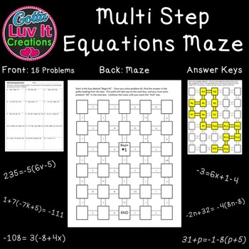 Solving Multi-Step Equations with Variables on both sides 2 Mazes