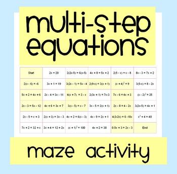 Multi-Step Equations Maze