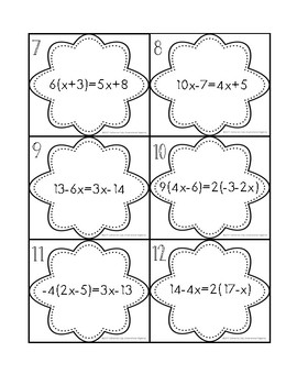 Multi-Step Equations Task Cards (w/distribution & variables both sides)
