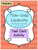 Multi-Step Equations Task Cards (w/distribution & variable