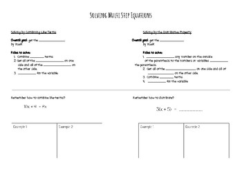 Multi Step Equations Notes