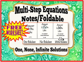 Multi-Step Equations Notes/Foldable:  One, None, Infinite Solutions + FREEBIE
