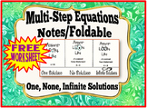 Multi-Step Equations Notes/Foldable:  One, None, Infinite