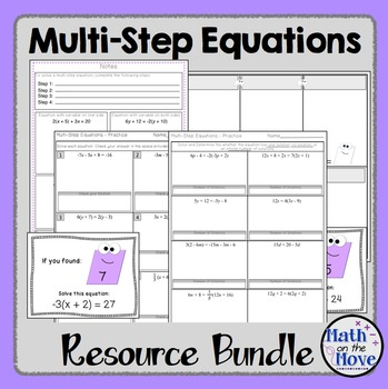 Multi-Step Equations - Notes, Worksheets and Activities Bundle