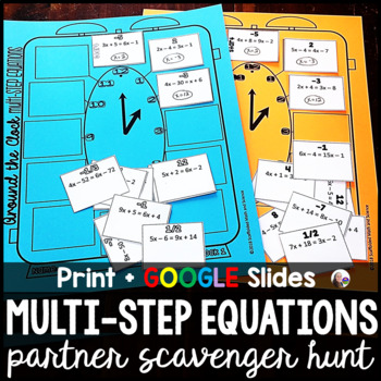 Multi-Step Equations Partner Scavenger Hunt Activity