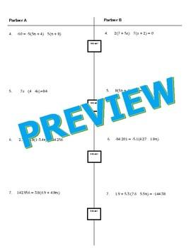 Multi-Step Equations Partner Worksheet