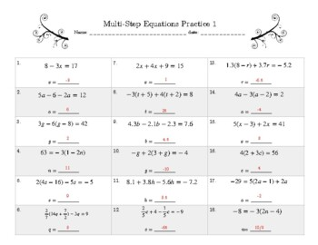 Multi-Step Equations Practice 1