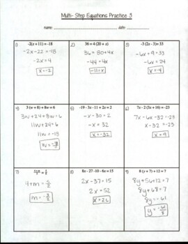 Multi-Step Equations Practice 3