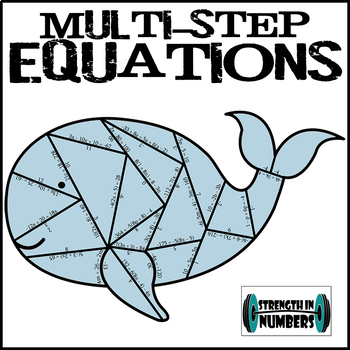 Multi-Step Equations Practice Whale Puzzle with Distributi