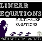 Multi-Step Equations Math Detective Activity