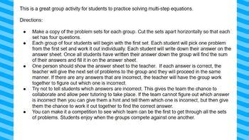 Multi-Step Equations Problem Sets