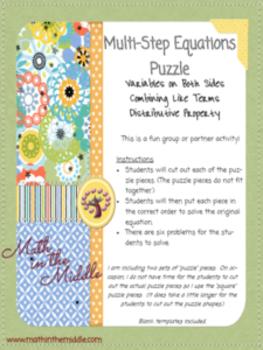 Multi-Step Equations Puzzle
