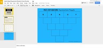 Multi-Step Equations Pyramid Sum Puzzle - GOOGLE SLIDES VERSION