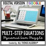 Multi-Step Equations Pyramid Sum Puzzle: DIGITAL VERSION (for Google Slides™)