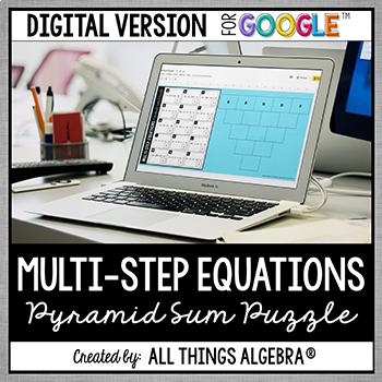 Multi-Step Equations Pyramid Sum Puzzle: DIGITAL VERSION (for Google ...