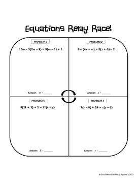 multi step equations relay race activity by all things algebra tpt. Black Bedroom Furniture Sets. Home Design Ideas