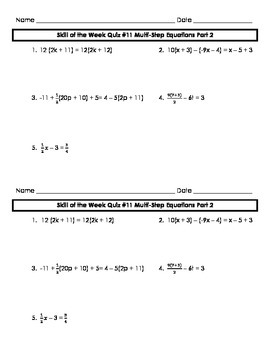 Multi-Step Equations Review Part 2 Skill of the Week (WK 11)