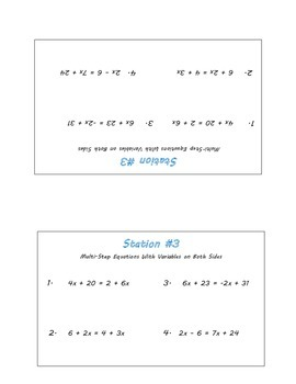 Multi-Step Equations Review Stations