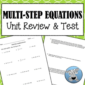 Multi-Step Equations Review and Unit Test