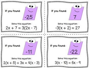Multi-Step Equations - Scavenger Hunt