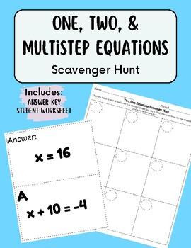 Multi Step Equations Scavenger Hunt