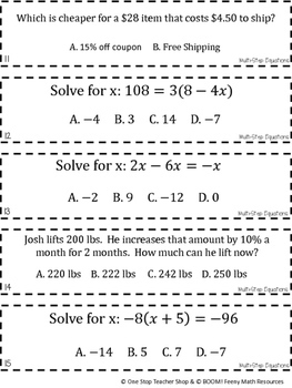 7th Grade Multi Step Equations Game | 7th Grade Math Review